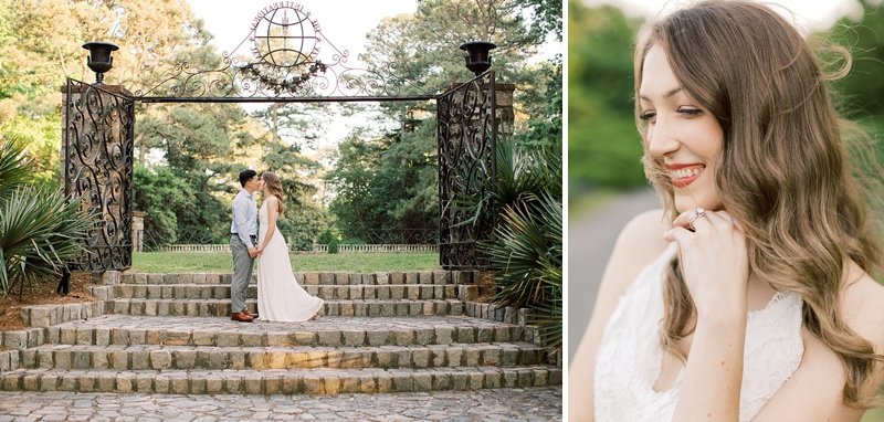 Beautiful and timeless engagement photo ideas with bride to be who has loose waves and white lace dress
