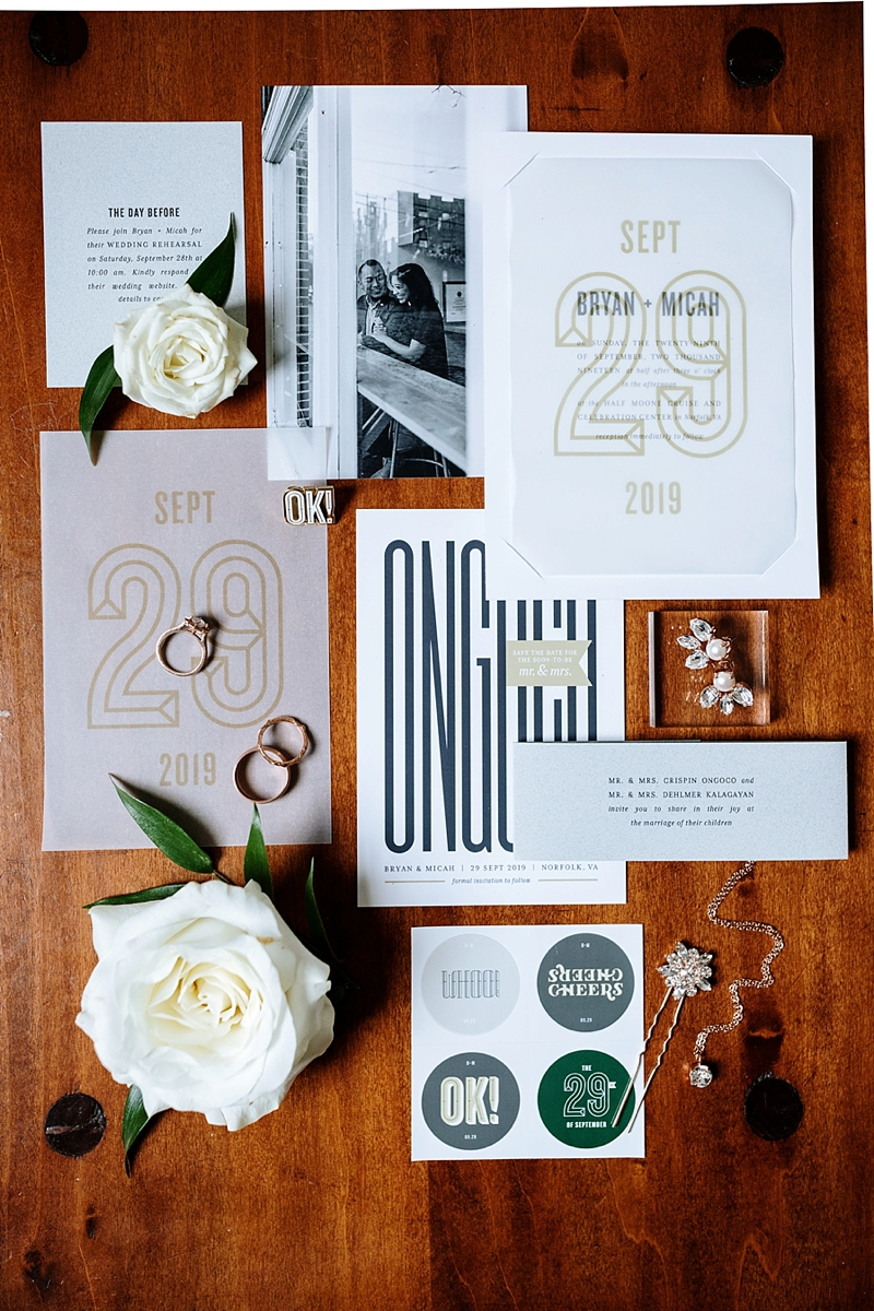 Modern branded wedding invitation suite and stationery for a contemporary design focus wedding in Norfolk Virginia