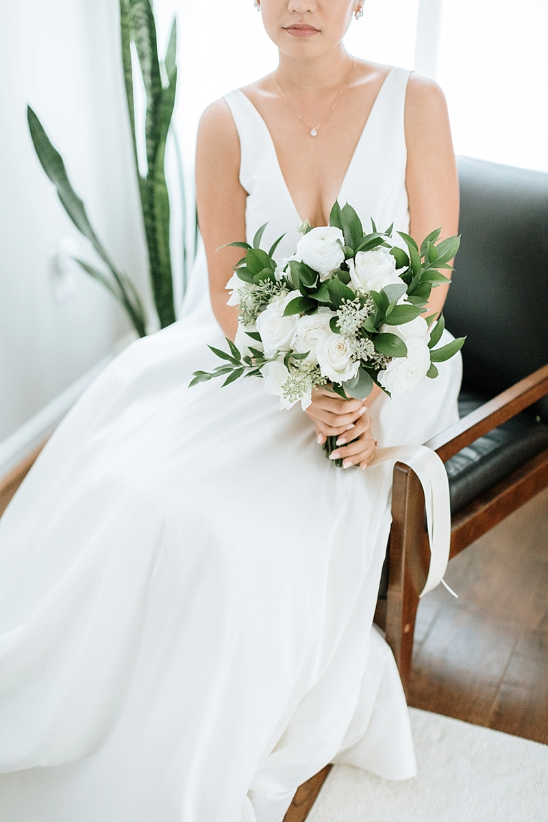 Simple all white and green bridal bouquet for modern wedding in Norfolk Virginia wedding blog