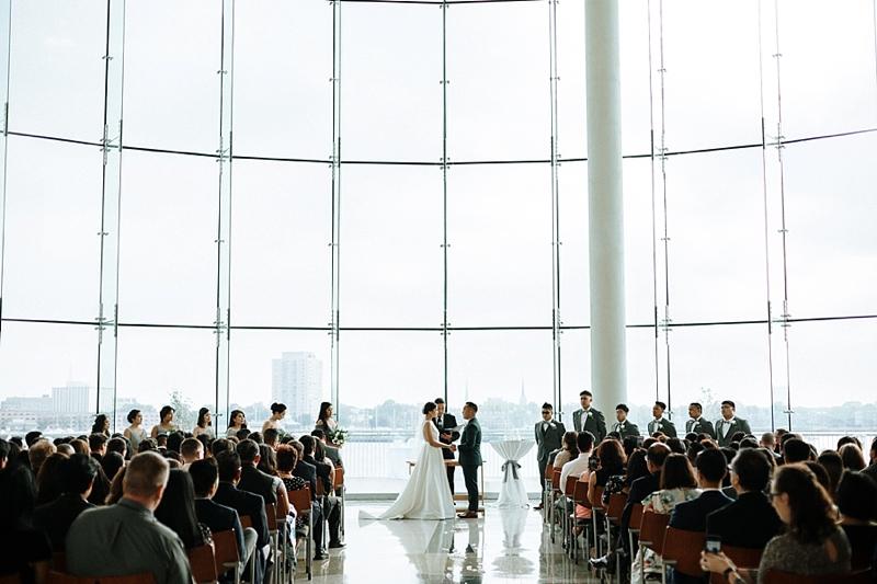 Gorgeous modern wedding ceremony at Decker Half Moone Center in Hampton Roads Virginia on wedding blog