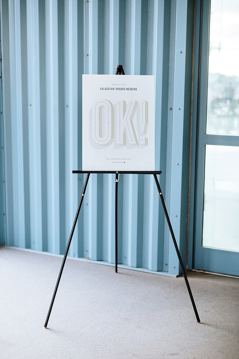 Modern branded wedding welcome sign and stationery for a contemporary design focus wedding in Norfolk Virginia