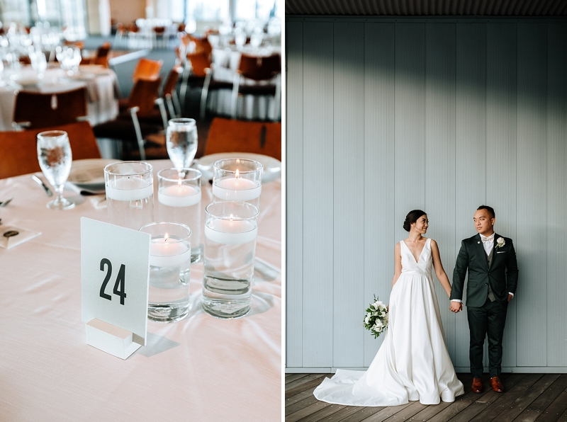 Simple and modern no floral wedding table centerpiece ideas with modern table number and candles