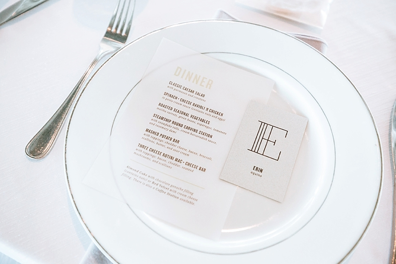 Chic and modern wedding menu card printed on vellum and modern paper place card for unique reception place setting detail
