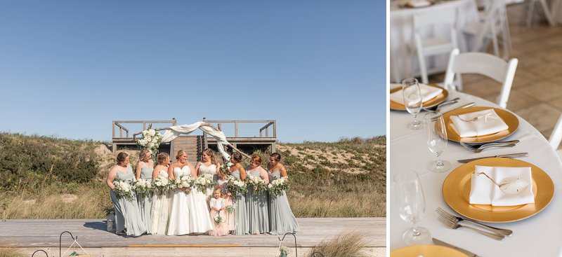 Bridesmaids in pale sage green dresses for romantic beach wedding in the Outer Banks