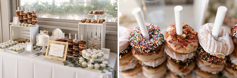 Yummy donut and dessert bar instead of wedding cake for fun beach wedding treats