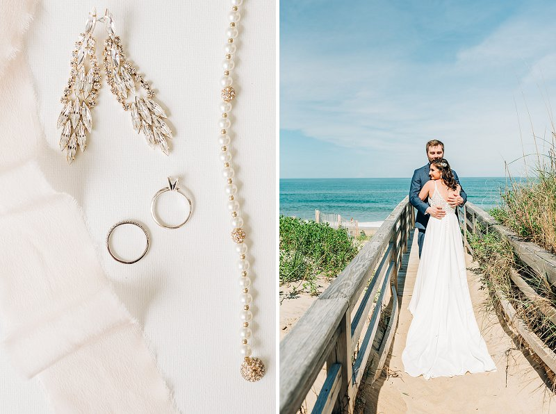 Beach wedding with orange and white colors for a colorful celebration in the Outer Banks