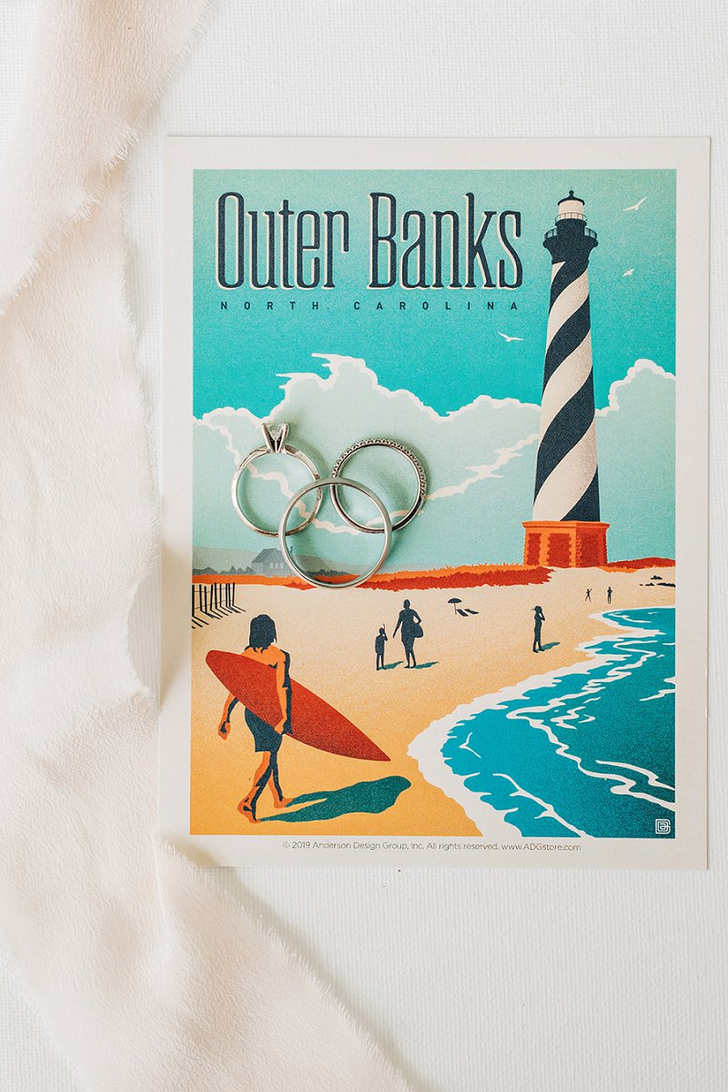 Retro Outer Banks postcard for destination wedding guests