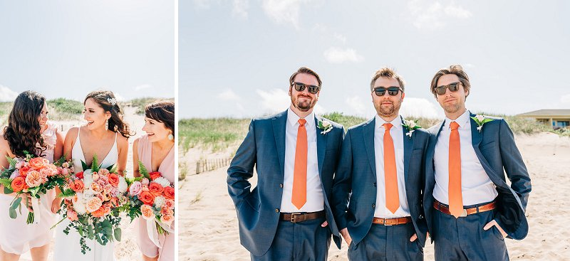 Groomsmen in orange neckties for destination beach wedding