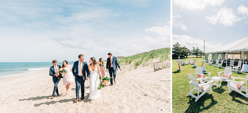 Cheerful beach wedding with orange color palette at First Colony Inn in Outer Banks