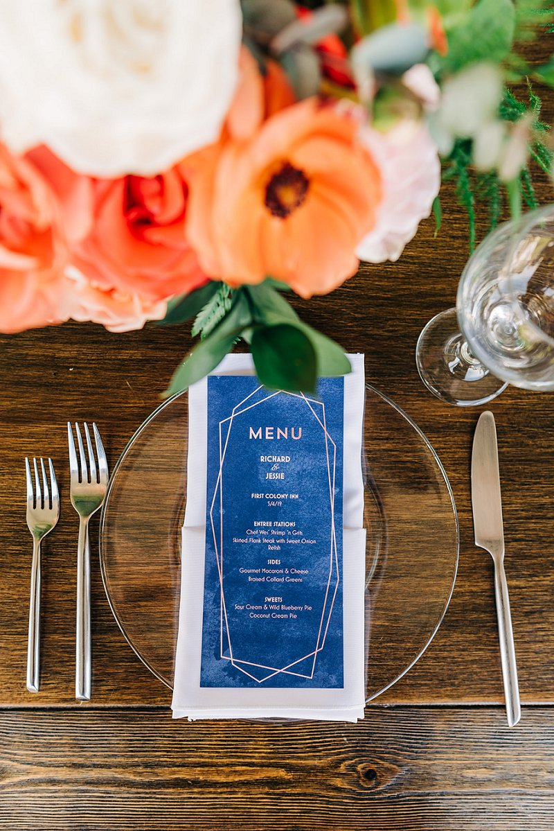 Blue and gold geometric wedding menus for a modern beach wedding