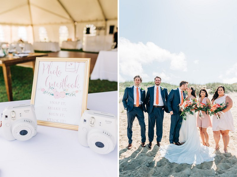 Photo Polaroid wedding guest book idea for beach destination wedding