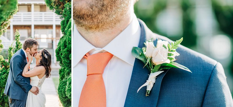 Orange necktie and white boutonniere for beach wedding groom