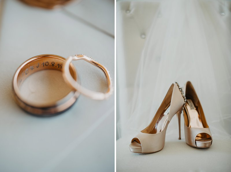 Rose gold bridal accessories for boho wedding in the Outer Banks