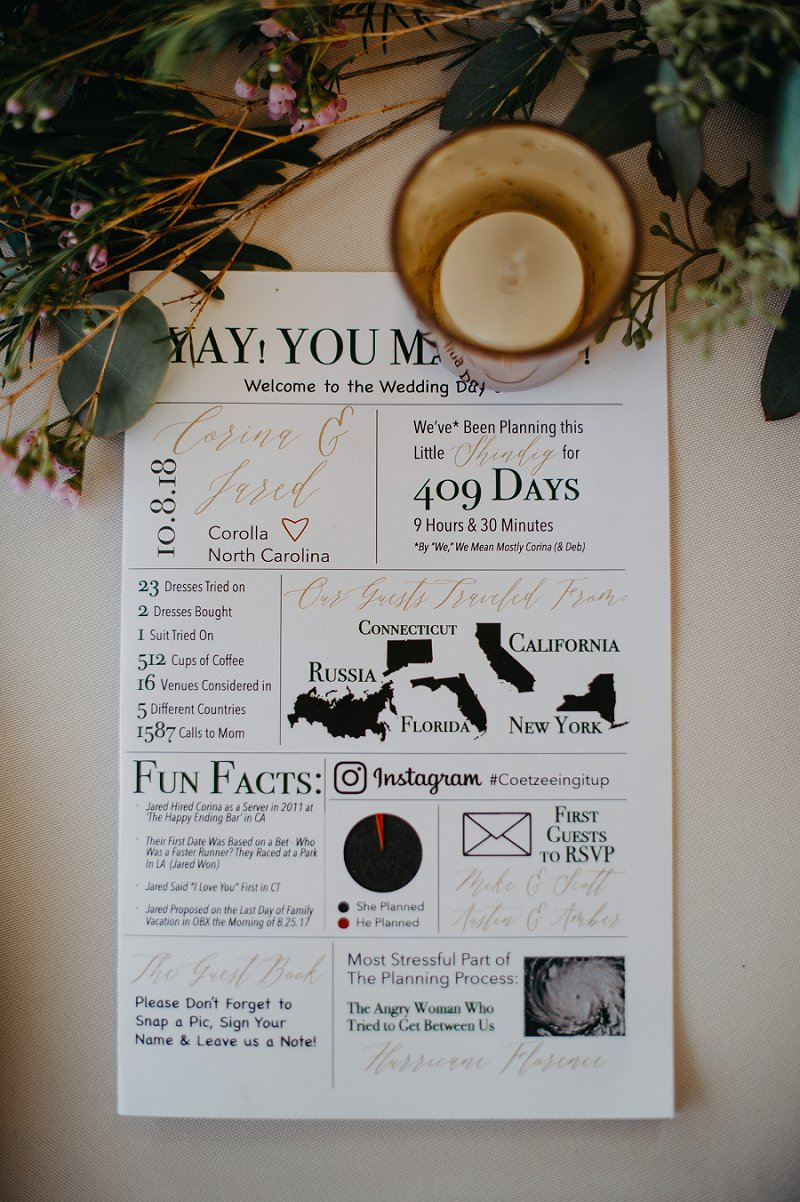 Fun wedding program with facts about the couple for a chic destination wedding