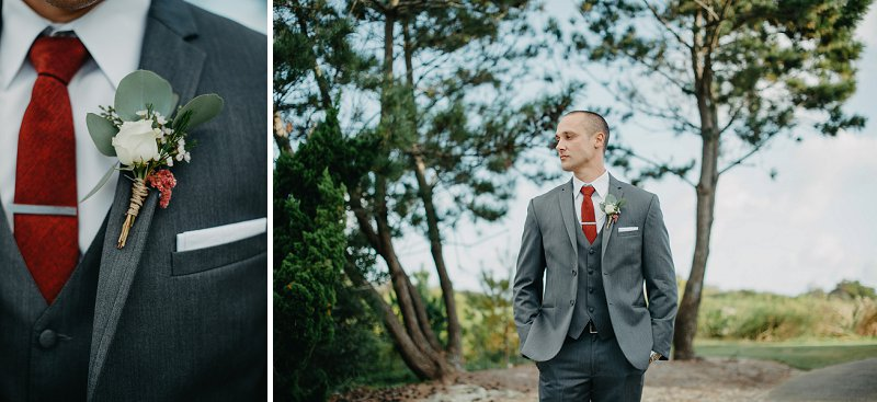 Boho groom for outdoor wedding at Currituck Club in the Outer Banks