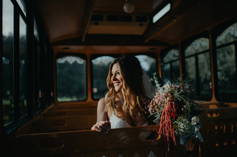 Gorgeous natural wedding day makeup with long loose curls for boho bride look