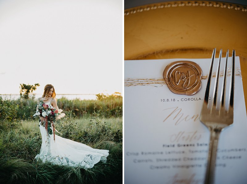 Romantic boho bridal portrait at Currituck Club in Corolla North Carolina