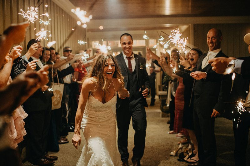 Sparkler wedding exit at Currituck Club in Outer Banks