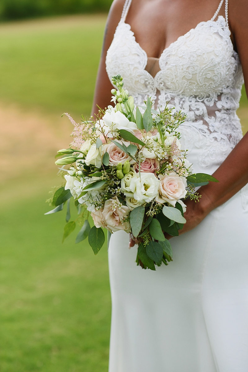 White and pink wedding bouquet with astilbe for a beach house bride