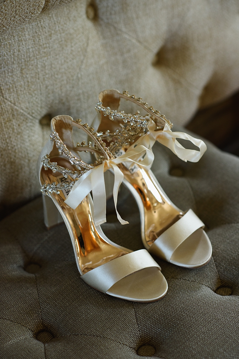 Sparkly ivory Badgley Mischka wedding shoes with ribbon tie for elegant Outer Banks beach house wedding