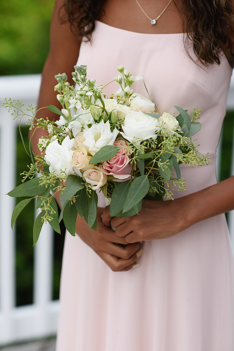 Small pink and white wedding bouquet for flower girl at North Carolina wedding
