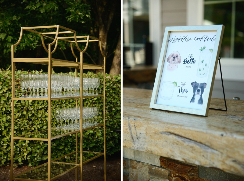 Adorable custom signature cocktail sign with dog illustrations