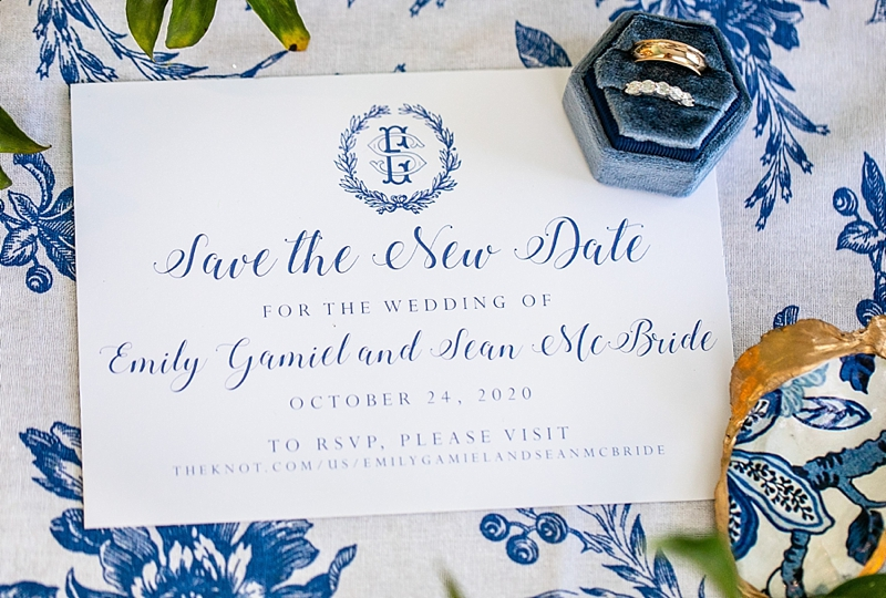 Save the New Date COVID wedding invitation change for Outer Banks wedding with custom monogram