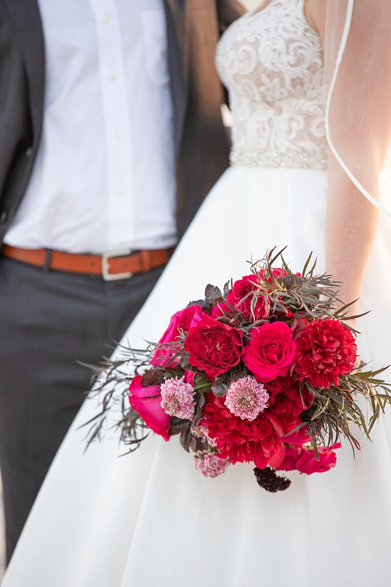Bright magenta pink bridal bouquet with coastal textures for an Outer Banks wedding