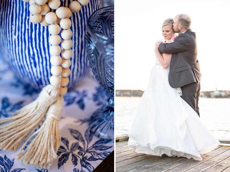 Wood bead tassel details on blue ginger jar for modern wedding floral centerpiece ideas