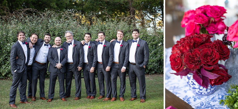 Groom and groomsmen wearing navy blue bow ties and bright pink boutonnieres for coastal wedding in the Outer Banks