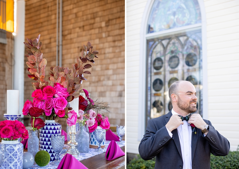 Navy blue and magenta pink Outer Banks wedding with ginger jar wedding ideas