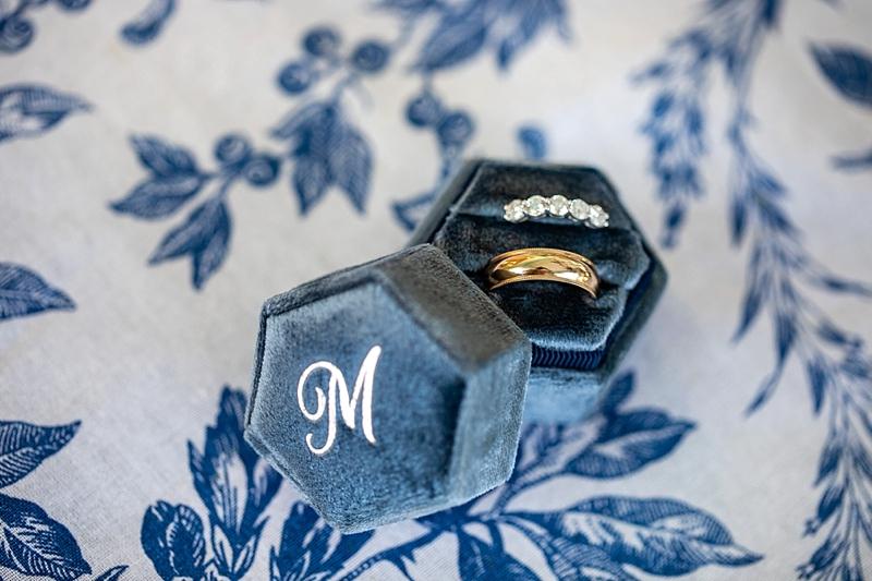 Navy blue monogrammed velvet wedding ring box for classic wedding details