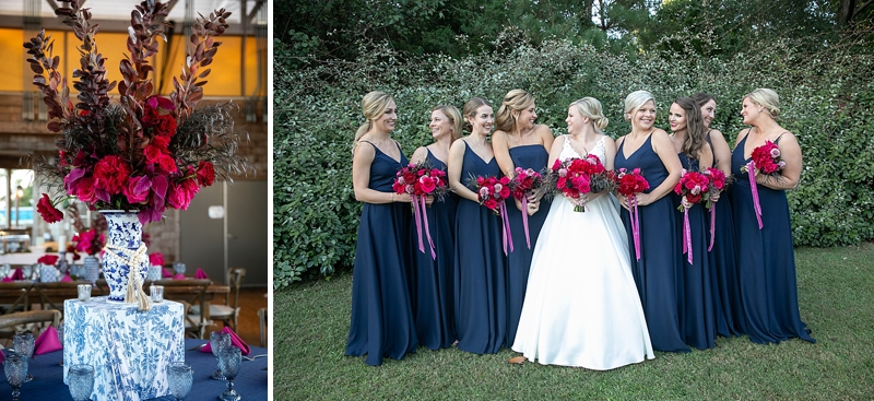 Bride and bridesmaids wearing mismatched navy blue dresses and holding pink flowers on the wedding day