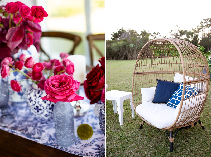 Navy blue and pink wedding ideas for coastal wedding in Outer Banks