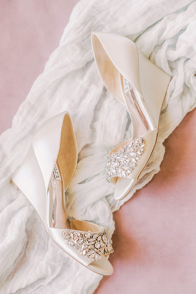 Sparkly ivory colored wedding heels with sparkly gems by Badgley Mischka perfect for a classic COVID wedding