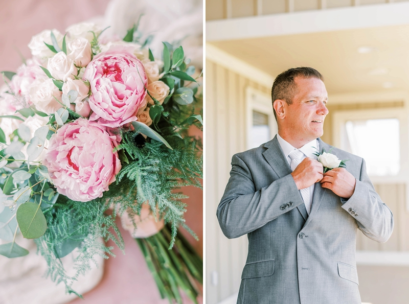 Pink and gray wedding ideas with pink peony flowers for bridal bouquet