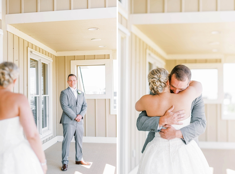 Emotional first look with bride and groom at the COVID affected wedding in the Outer Banks