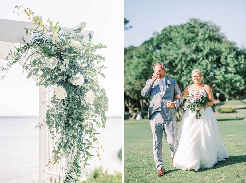 Lush greenery florals for a outdoor wedding ceremony altar decor at Currituck Club in Outer Banks