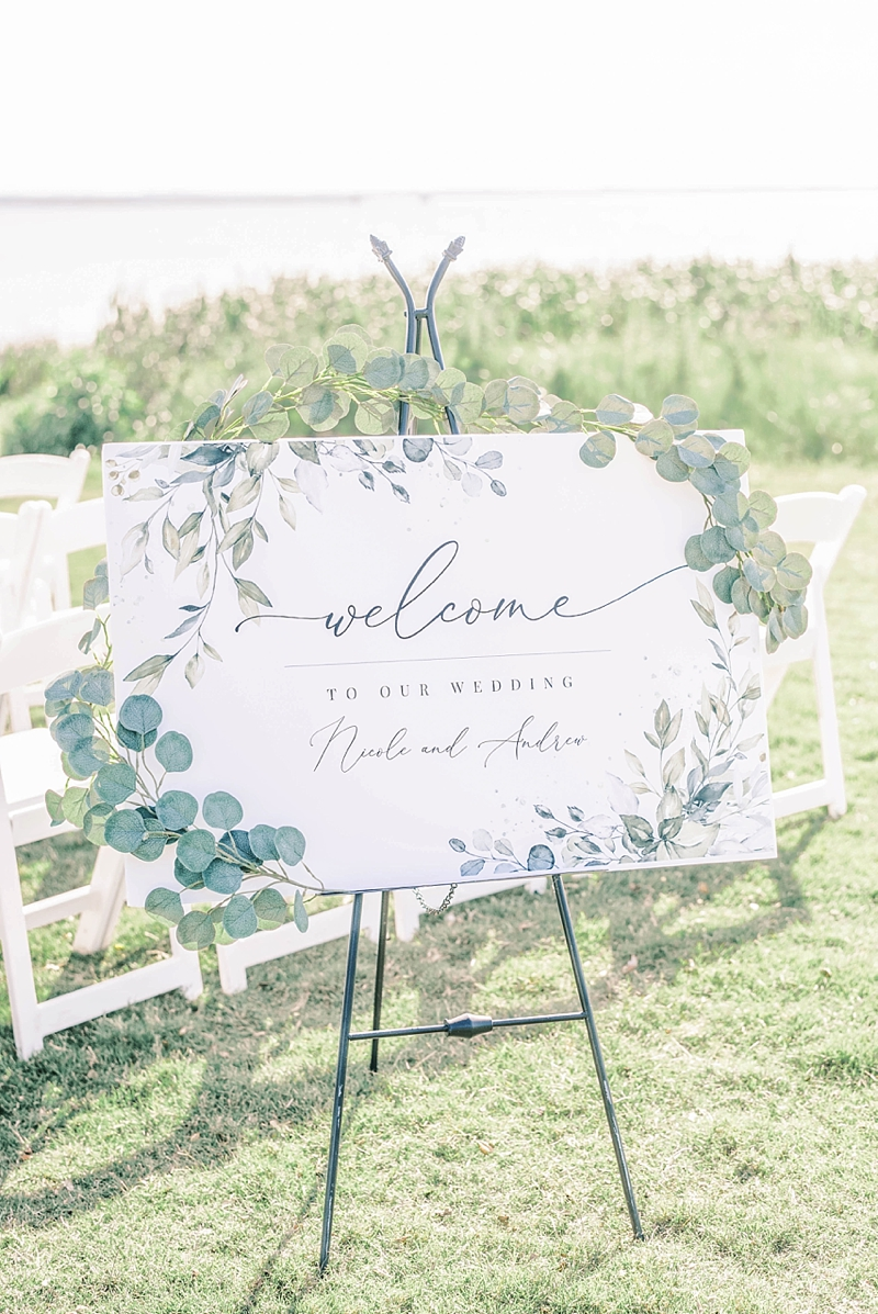 Printable handmade welcome wedding sign decorated with silk eucalyptus for outdoor COVID wedding