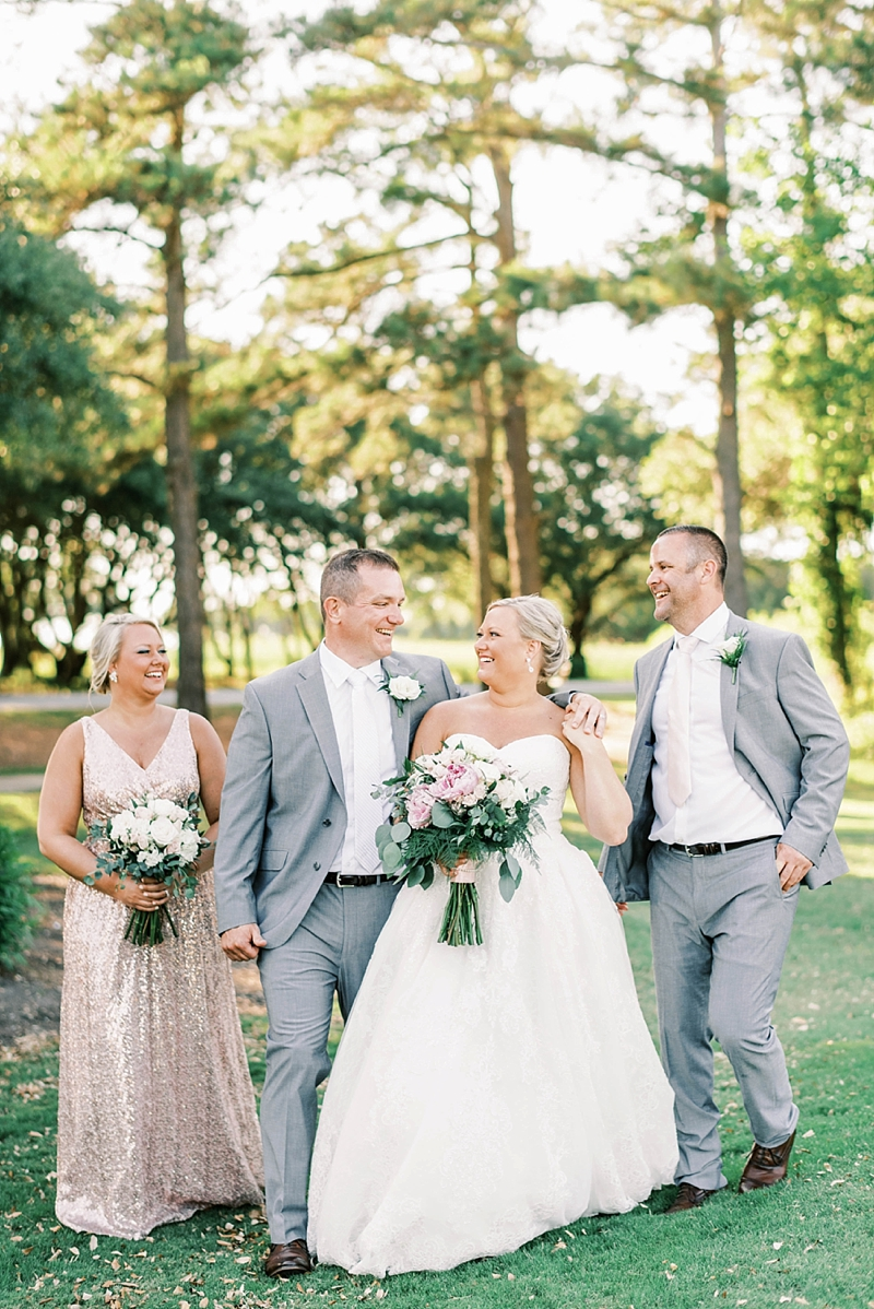 COVID affected wedding ideas with bridesmaid in sparkly pink dress and men in gray suits