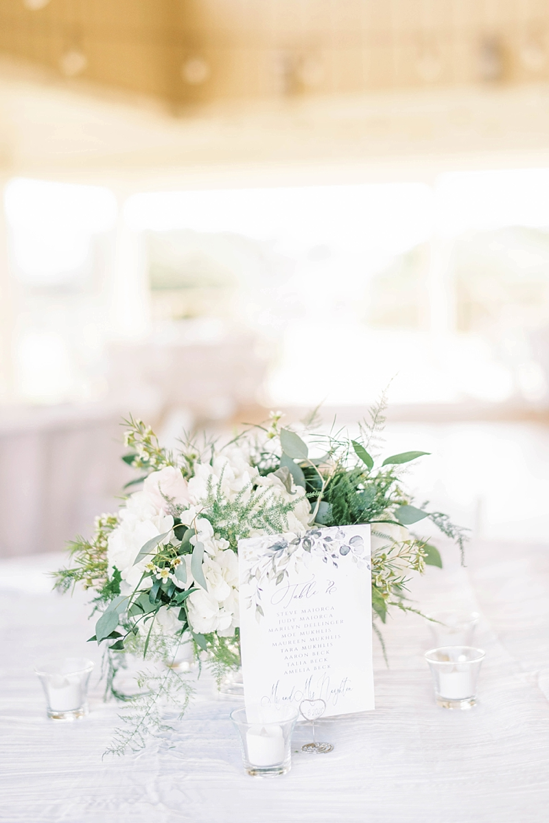 Small white and green wedding centerpiece with printable watercolor table number for COVID affected reception
