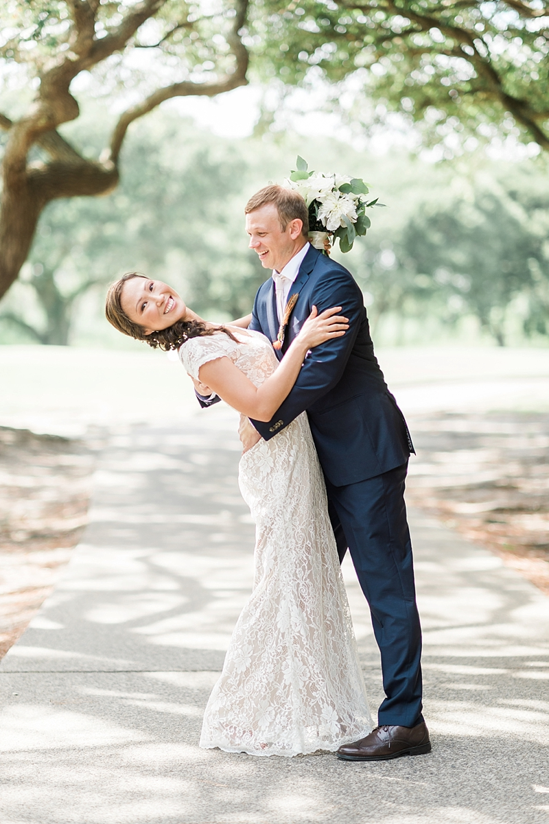 Intimate COVID affected wedding with bride and groom at the Currituck Club in Outer Banks