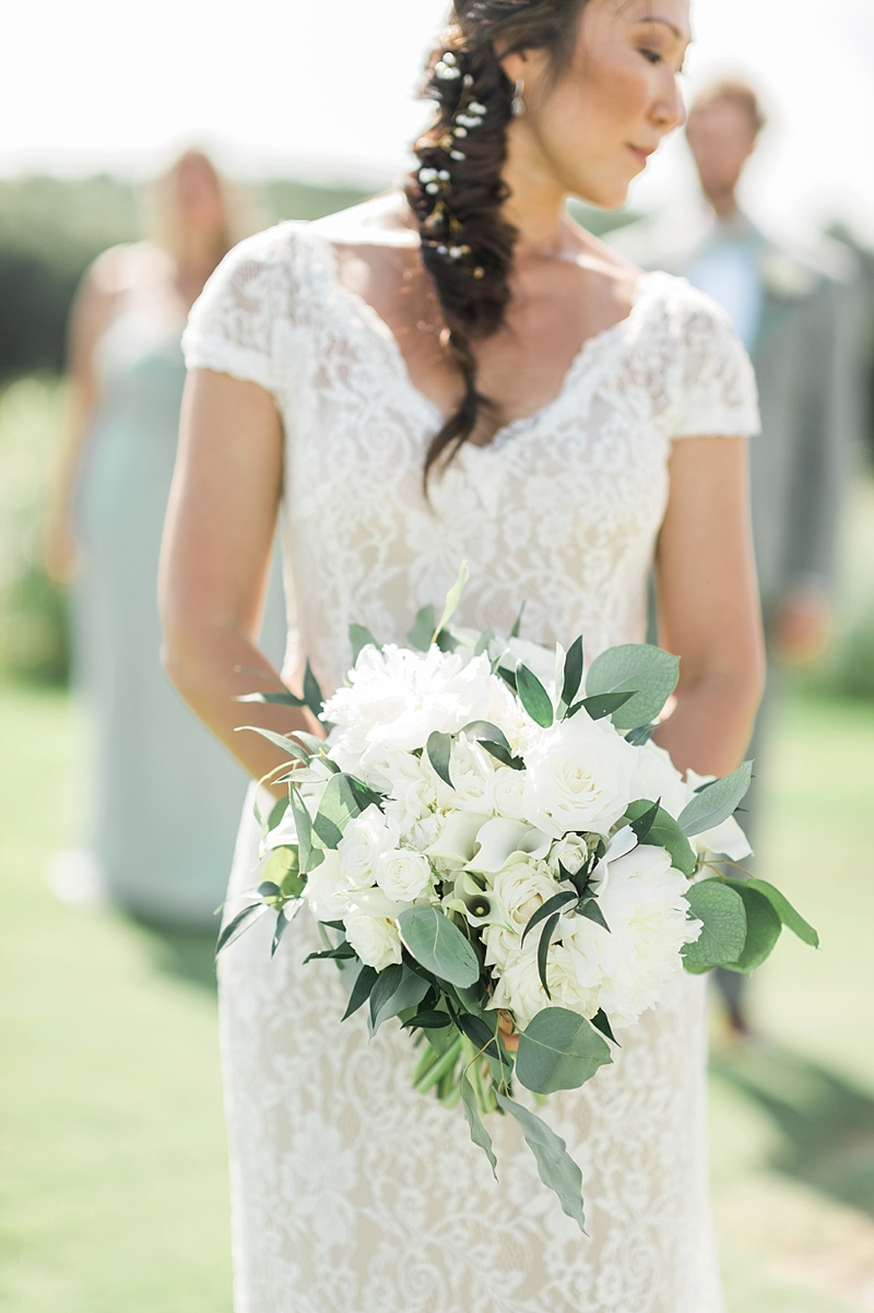 All white wedding bouquet with peonies and lilies for classic COVID affected wedding in North Carolina