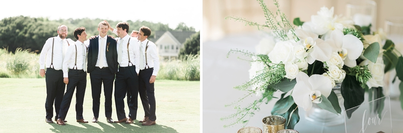 Green and white color themed COVID wedding at Currituck Club in Outer Banks on Virginia wedding blog