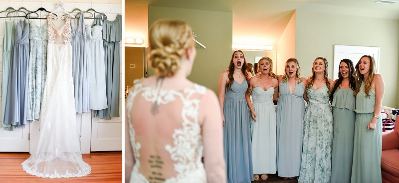 First look with bride and her bridesmaids at Womans Club of Portsmouth in Virginia