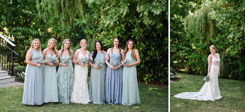 Bridesmaids in mismatched blue dresses with patterned florals and solid colors for a sweet Virginia wedding