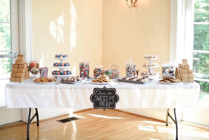 Handmade sweets and dessert bar for DIY wedding at Womans Club of Portsmouth in Virginia