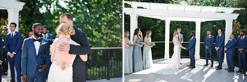 Sunny outdoor wedding ceremony at Womans Club of Portsmouth in Coastal Virginia