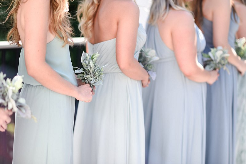 Simple handmade bridesmaid bouquets with faux silk dusty miller