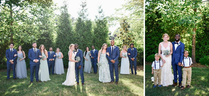 Groom and groomsmen attire in handsome blue wedding suits for outdoor wedding